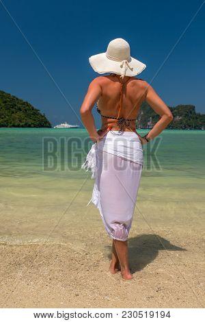 Elegant beach woman in bikini and fashion sarong standing on shore.