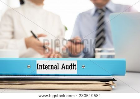 Internal Audit Documents With Consultant Discussing To The Manager At Meeting Room.