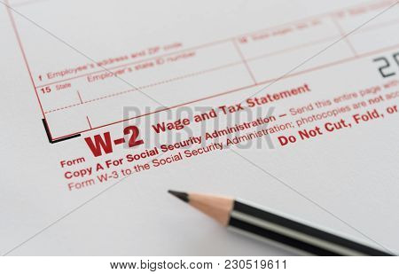 Tax forms, form W-2 wage and tax statement poster