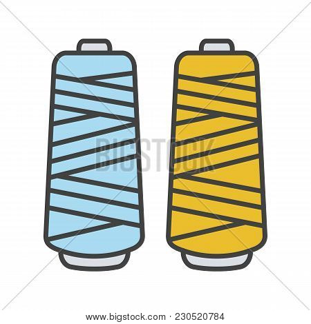 Thread Spool Color Icon. Isolated Vector Illustration