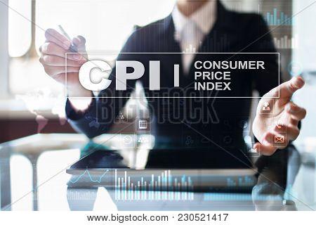 Cpi. Consumer Price Index Concept On Virtual Screen