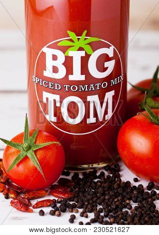 London, Uk - March 10, 2018 :  Glass Bottle Of Big Tom Spiced Tomato Mix On Wood.a Powerful Blend Of