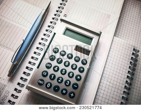 Office Tools. Calculator, Pen, Notebook And Other Office