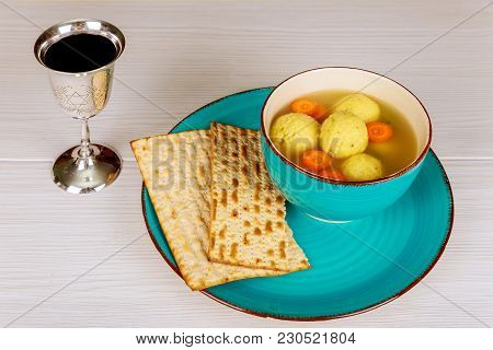 Delicious Matzoh Ball Soup With Matzah, Jewish Symbols For The Passover Pesach Holiday