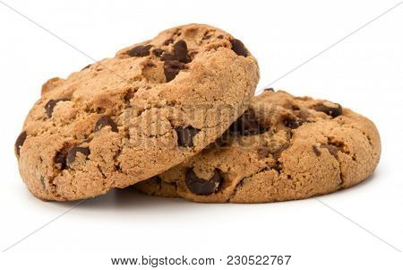 Two Chocolate chip cookies isolated on white background. Sweet biscuits. Homemade pastry.