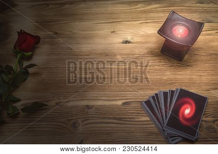 Tarot Cards Deck On Fortune Teller Table Background With Copy Space. Future Reading. Love Divination