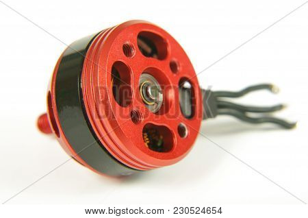 Brushless Motor With Wires Isolated On The White Background