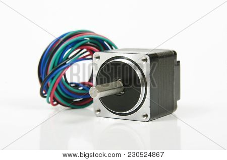 Stepper Motor With Wires And Connector Isolated