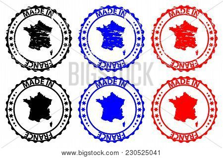 Made In France - Rubber Stamp - Vector, France Map Pattern - Black, Blue And Red