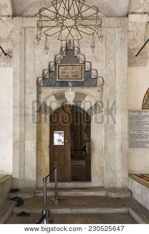 Mostar, Bosnia And Herzegovina - August 17 2017: Entrance Door Of Koski Mehmed Pasha Mosque In Mosta