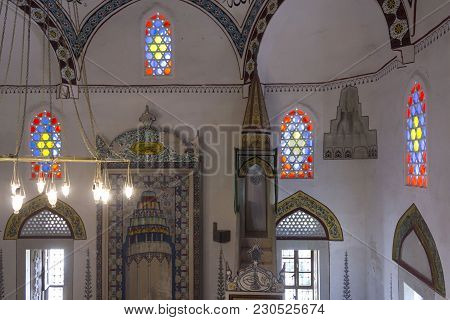 Mostar, Bosnia And Herzegovina - August 17 2017: Interiors Of The Mosque Koski Mehmed In Mostar