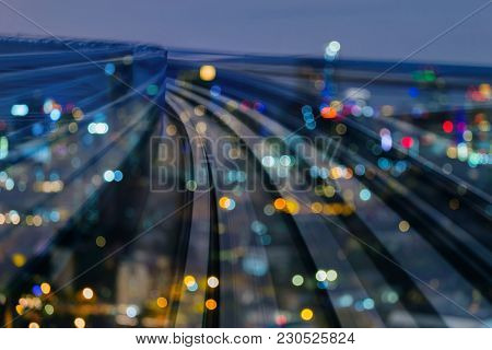 Night Trains Track Curved Double Exposure Blurred Light Business Downtown, Abstract Background