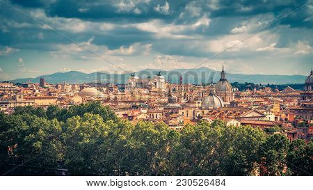Aerial Panoramic View Of Rome In Summer, Italy. Rome Skyline. Old Rome In The Sunlight. Beautiful Sc