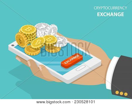 Cryptocurrency Exchange Flat Isometric Vector Concept. Hand Is Holding A Smartphone With Bitcoins, E