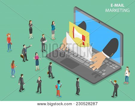 E-mail Marketing Flat Isometric Vector Concept. Hands From The Laptop Shows A Letter With Promotion