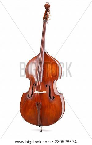 Front View Of A Double Bass On White Background