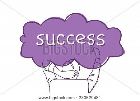 Back Rear View Of Successful Business Man Sitting In Office Chair Point Finger At Success Word Doodl