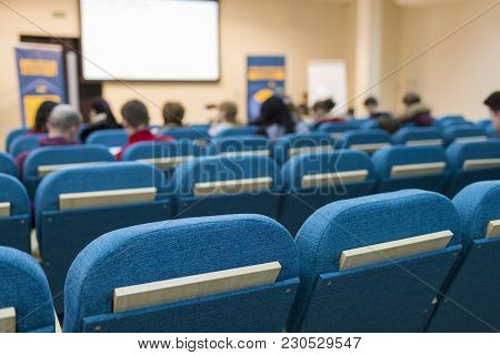 Business Meetings Concepts. Group Of People In Congress Hall Prior To The Meeting Start.horizontal I