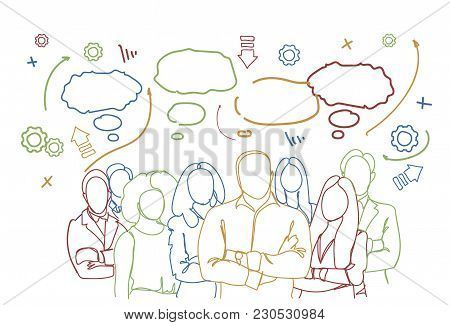 Successful Business People Group Over Abstract Doodle Background Teamwork Group Of Businesspeople Te
