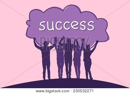 Success Concept Cheerful Group Of Business People Holding Raised Hands Happy Successful Team Silhoue