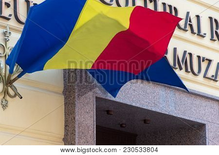 Romanian And European Union Flags Wawing In The Breeze