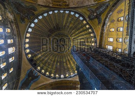 Istanbul, Turkey - September 11, 2017: It Is A View From The Inside Onto The Dome Of The Hagia Sophi