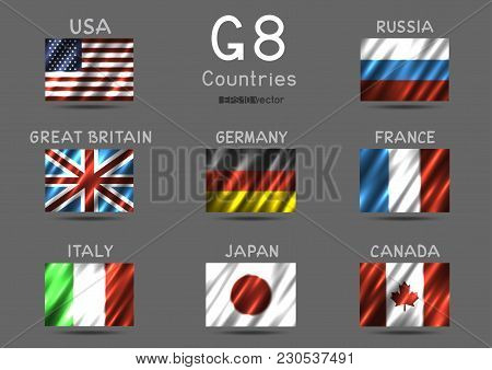 G8 Usa Canada France Germany Italy Japan Russia Great Britain Rectangular Flag Icon Set On Gray Back