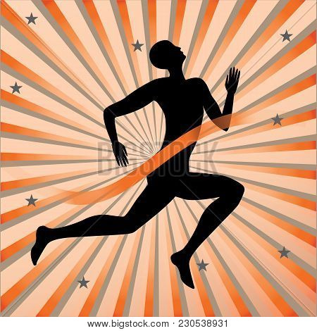 Running Athlete Finish Ribbon On A Background Of Multicolored Rays Of The Rising Sun Art Creative Mo