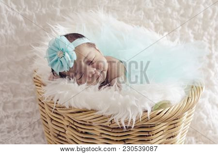 Portrait Of Cute And Adorable Newborn Baby With  Head Band Sleeping In Basket Covered With Furry Mat