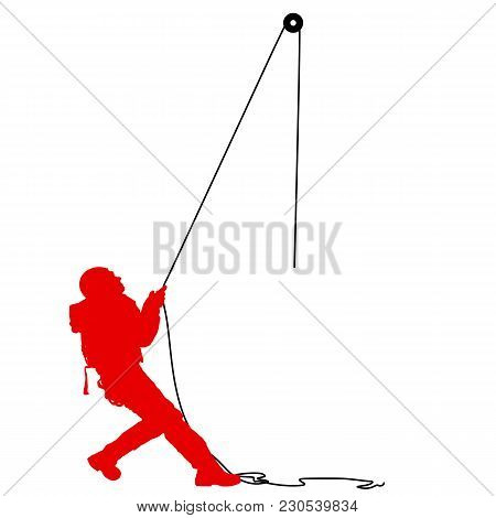 Silhouette Craftsman Pulling Rope On White Background.
