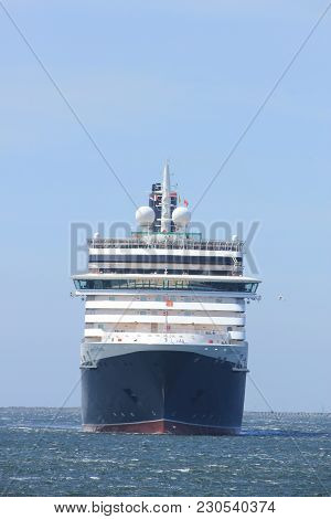 Ijmuiden, The Netherlands - June 5th 2017: Queen Victoria, Cunard On North Sea Channel Towards North