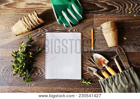Spring Garden Flat Lay With Note Book, Peat Pots And Tools. Seeding Vegetables And Potherbs, Plannin