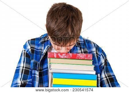 Sad Student With The Books Isolated On The White Background