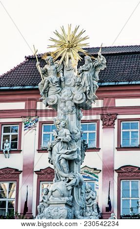 Holy Trinity Column And Goose On A String Theatre Building, Brno, Moravia, Czech Republic. Baroque A