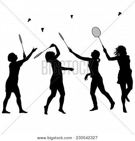 Black Set Silhouette Of Female Badminton Player On White Background.