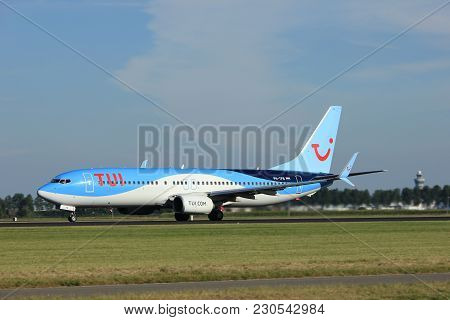 Amsterdam, The Netherlands  - August, 18th 2016: Ph-tfb Tui Airlines Netherlands Boeing 737 Taking O