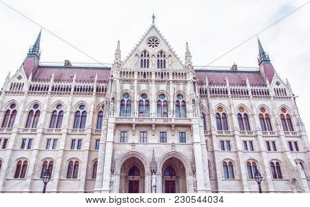 Hungarian Parliament Building, Also Known As The Parliament Of Budapest, Hungary. House Of The Natio