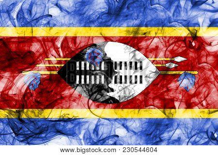 Swaziland Smoke Flag On A White Background