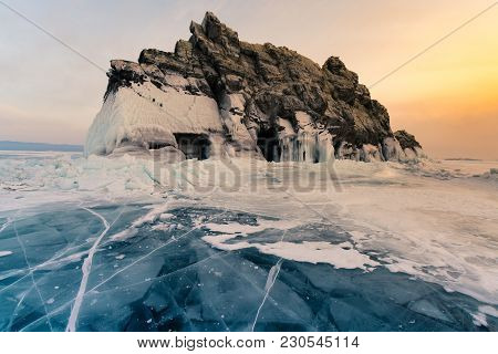 Beauty Of Sunset Sky Over Rock Mountain On Baikal Siberia Water Lake, Russia Natural Landscape