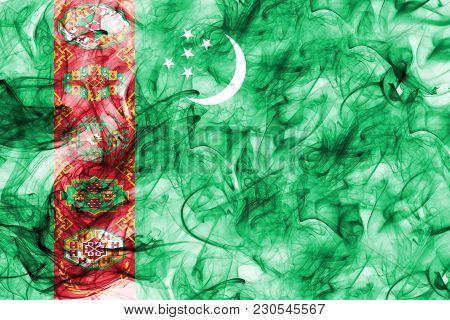 Turkmenistan Smoke Flag On A White Background