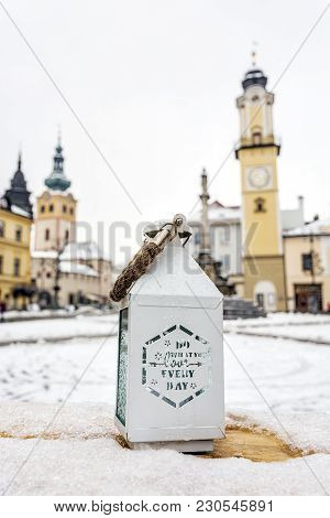 Lantern With Inscription - Do What You Love Everyday. Snp Square In Banska Bystrica, Slovak Republic