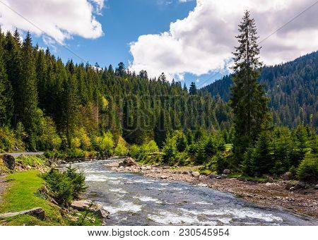 Beautiful Landscape With Forest River In Mountains. Gorgeous Springtime Scenery On Bright Day With S