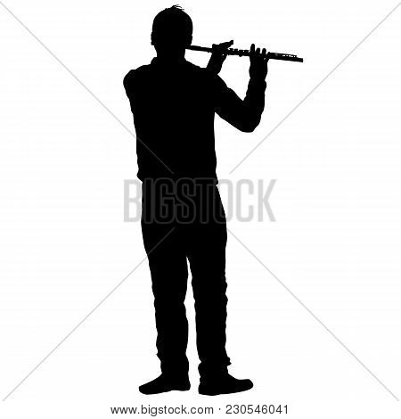 Silhouette Of Musician Playing The Flute On A White Background.