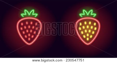 Red Neon Strawberry With Sepals. Vector Illustration Of Neon Red Strawberry Consisting Of Outlines,