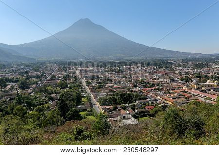 View Over Antigua City In Guatemala Central America