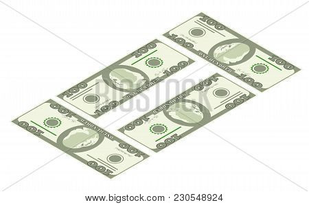 Illustration Of Money Icons. Dollar Currency Banknote Green. Dollars Bill, Money Banknote. Vector Do