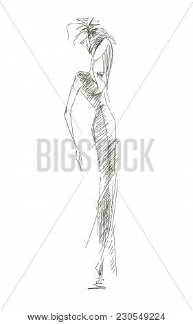 Vector Fashion Model. Vector Sketch Silhouette. Vector Vintage Lady. Dress Pencil Sketch. Vector Fas