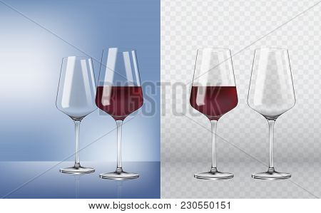 Transparency Wine Glass. Empty And Full. 3d Realism, Vector Icon. Set Transparent Vector Wineglass E