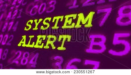 Cyber Attack And Computer Security Warnings - System Alert - Green Words And Numbers On Ultraviolet