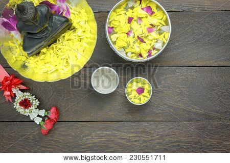 Table Top View Decoration & Sign On Songkran Festival Or Thailand New Year Holiday Background Concep